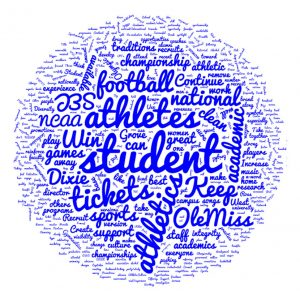 Word cloud highlighting Athletics feedback collected during the Town Hall Meeting on Aug. 29, 2016.